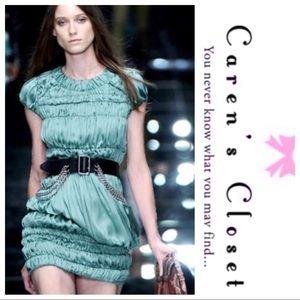 Burberry Runway Green Silk Ruched Mini Dress